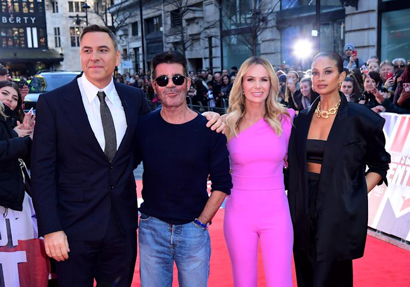 David Walliams (left), Simon Cowell (centre-left), Amanda Holden (centre-right) and Alesha Dixon (right), the judges on Britain's Got Talent, which returns to TV screens on Saturday night with the start of the semi-finals.