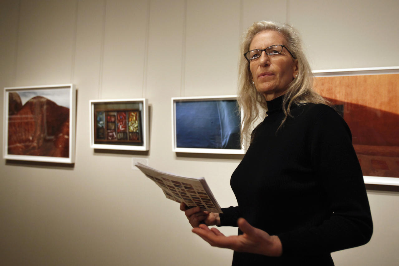 "Photographer Annie Leibovitz leads a media tour of her new exhibit  ""Pilgrimage"" Tuesday, Jan. 24, 2012, at the Smithsonian American Art Museum in Washington. (AP Photo/Jacquelyn Martin)"