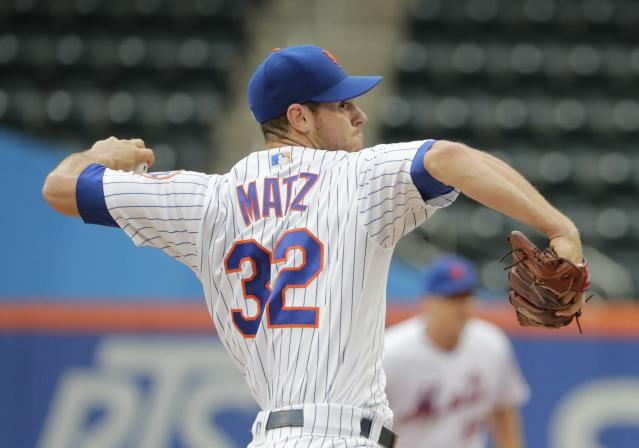 New York Mets' Steven Matz (32) delivers a pitch during the first inning in the first baseball game of a doubleheader against the Miami Marlins, Thursday, Sept. 13, 2018, in New York. (AP Photo/Frank Franklin II)