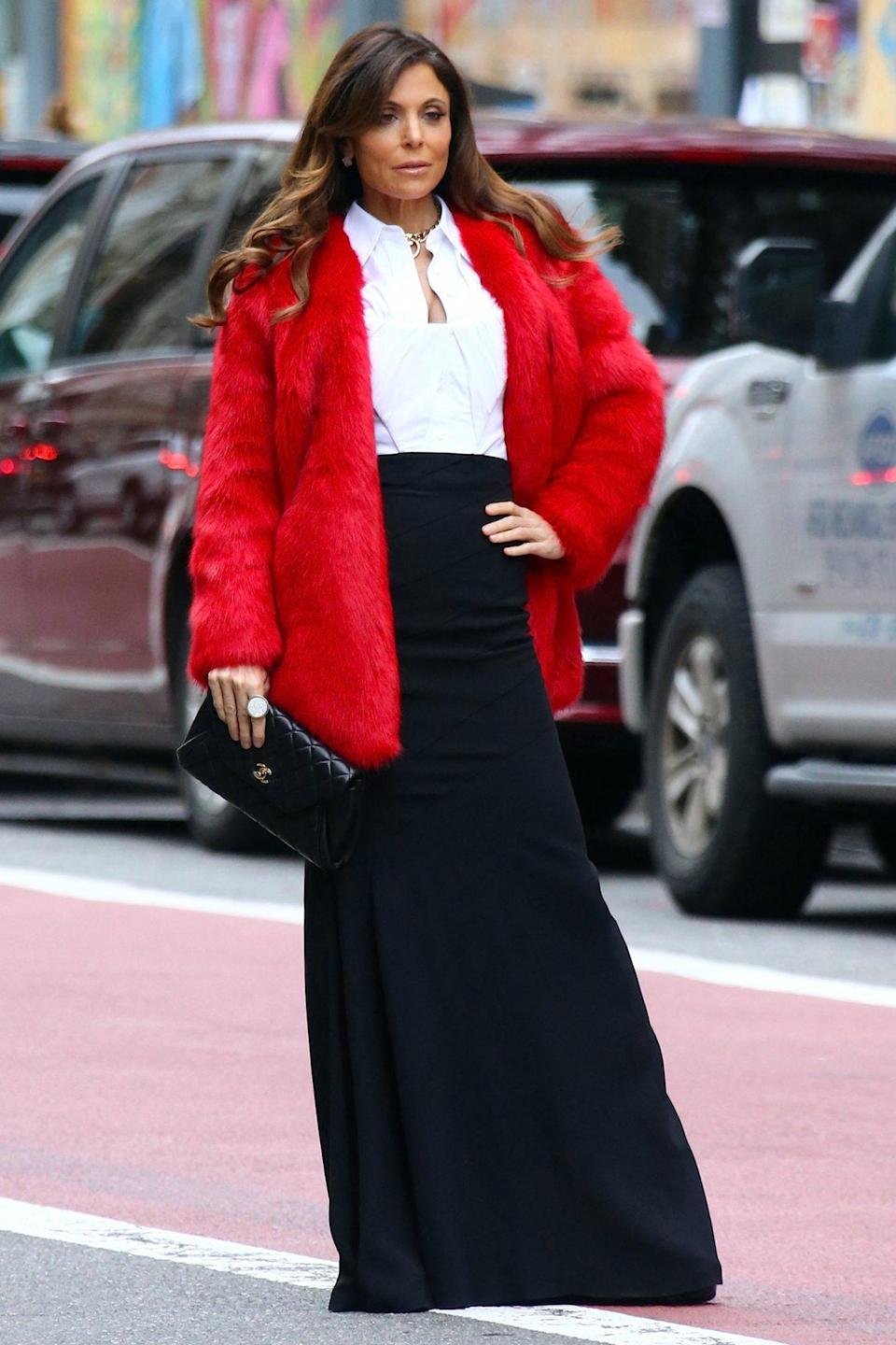 <p>Bethenny Frankel looks all dolled up in a red faux fur coat as she makes her way through N.Y.C.'s Soho neighborhood on Tuesday.</p>