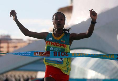 Ethiopia's Netsanet Gudeta Kebede wins the women's race. REUTERS/Heino Kalis