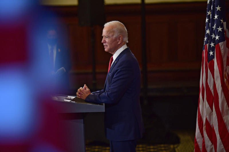 Joe Biden, the presumptive Democratic Presidential nominee, speaks at City Hall in Philadelphia, June 2, 2020. (Mark Makela/The New York Times)