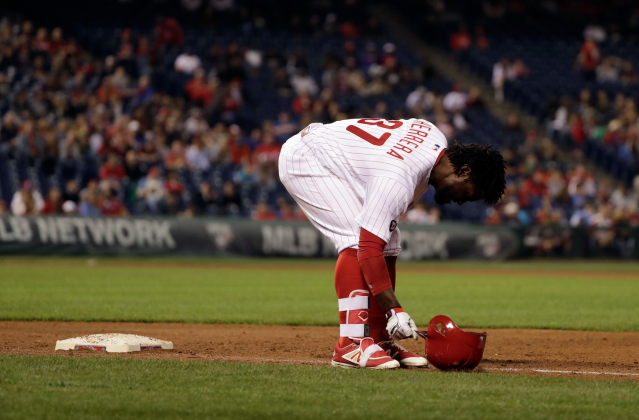 "Looking for <a class=""link rapid-noclick-resp"" href=""/mlb/players/9906/"" data-ylk=""slk:Odubel Herrera"">Odubel Herrera</a>? Don't bother checking the bases (AP)"