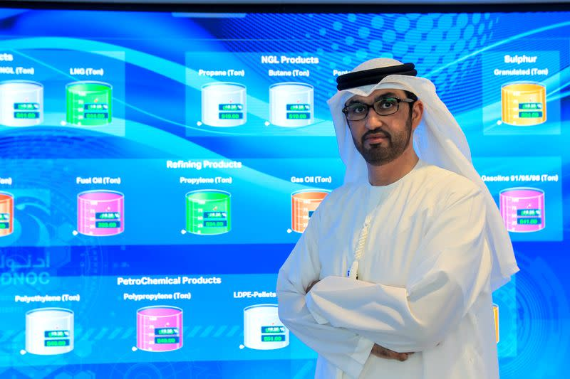 Sultan Ahmed Al Jaber, UAE Minister of State and the Abu Dhabi National Oil Company (ADNOC) Group CEO poses during an interview at the Panorama Digital Command Centre, at the ADNOC headquarters in Abu Dhabi