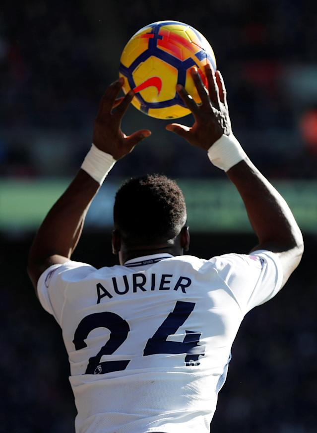 "Soccer Football - Premier League - Crystal Palace vs Tottenham Hotspur - Selhurst Park, London, Britain - February 25, 2018 Tottenham's Serge Aurier takes a throw in Action Images via Reuters/Paul Childs EDITORIAL USE ONLY. No use with unauthorized audio, video, data, fixture lists, club/league logos or ""live"" services. Online in-match use limited to 75 images, no video emulation. No use in betting, games or single club/league/player publications. Please contact your account representative for further details."