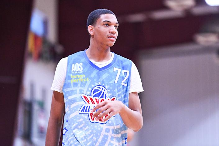 Jalen Hooks, a 6-foot-7 junior from Indiana, has committed to Kanye West's Donda Academy. Hooks has offers from Kansas, Michigan State, Purdue, Illinois and more. (Brian Rothmuller/Icon Sportswire via Getty Images)