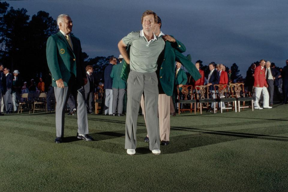Tom Watson is congratulated after the green jacket presentation at Augusta National Golf Club on April 12, 1981.