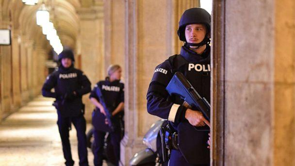 PHOTO: Armed police patrol at a passage near the opera in central Vienna on Nov. 2, 2020, following a shooting near a synagogue. (Joe Klamar/AFP via Getty Images)