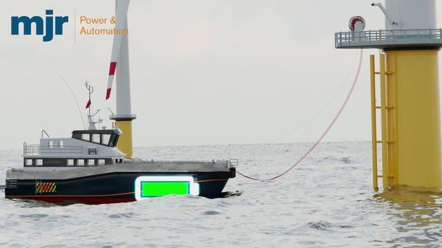 A proposed electric boat charging point attached to a wind turbine