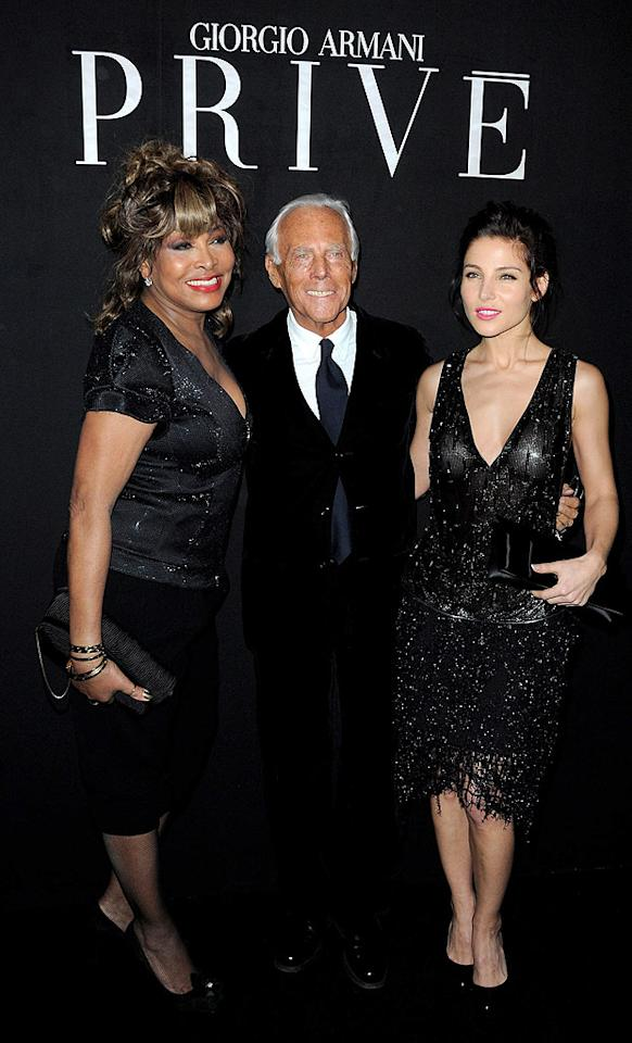 "Designer Giorgio Armani posed with an odd pair at his show -- iconic soul diva Tina Turner and D-list actress Elsa Pataky. Gotta trim down that guest list, Giorgio! Pascal Le Segretain/<a href=""http://www.gettyimages.com/"" target=""new"">GettyImages.com</a> - January 25, 2010"