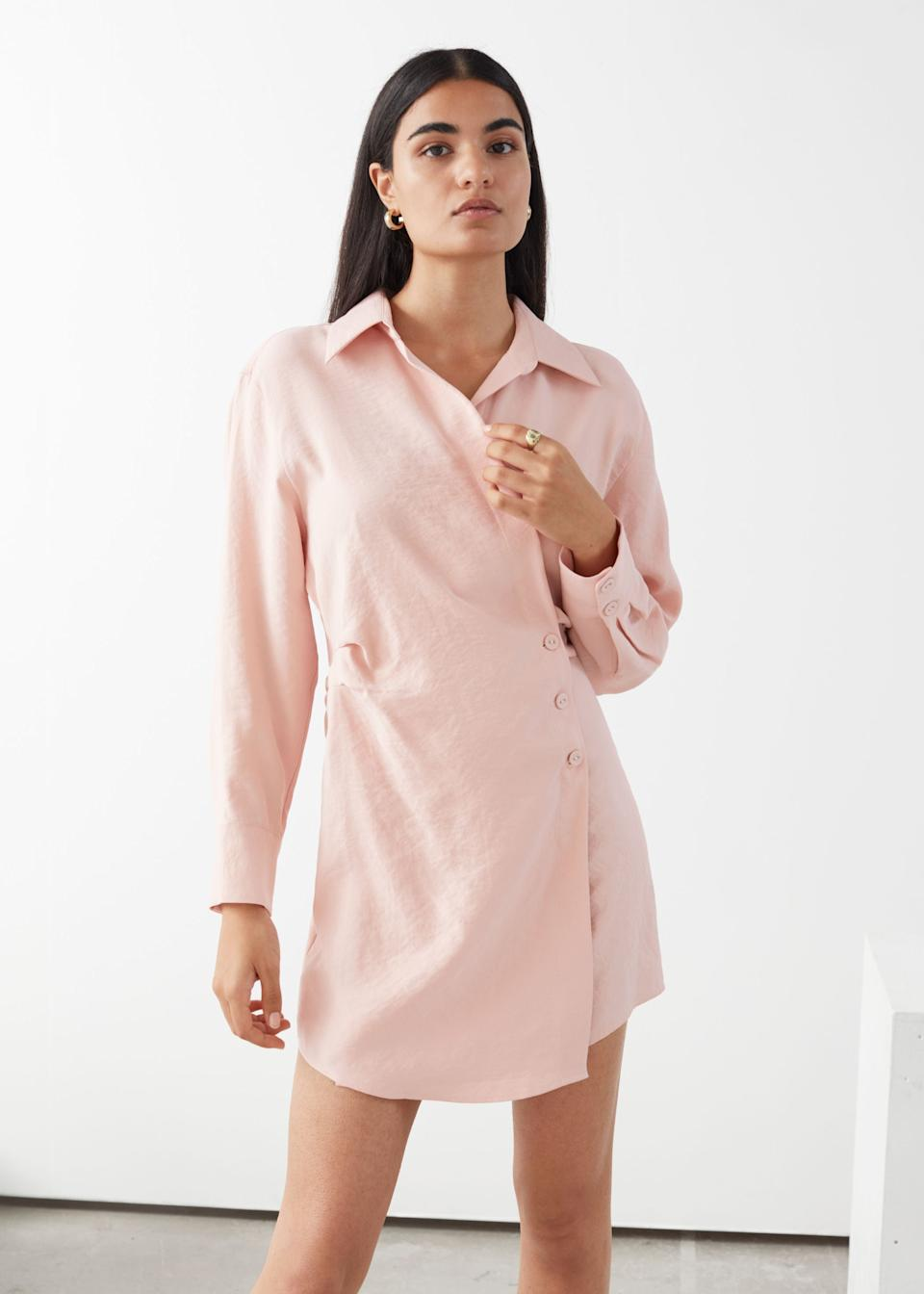 "<br><br><strong>& Other Stories</strong> Asymmetric Mini Shirt Dress, $, available at <a href=""https://go.skimresources.com/?id=30283X879131&url=https%3A%2F%2Fwww.stories.com%2Fen_usd%2Fclothing%2Fdresses%2Fmini-dresses%2Fproduct.asymmetric-mini-shirt-dress-orange.0774360015.html"" rel=""nofollow noopener"" target=""_blank"" data-ylk=""slk:& Other Stories"" class=""link rapid-noclick-resp"">& Other Stories</a>"