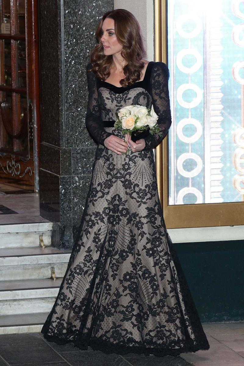 The Duchess of Cambridge leaves the London Palladium after attending the Royal Variety Performance (PA)