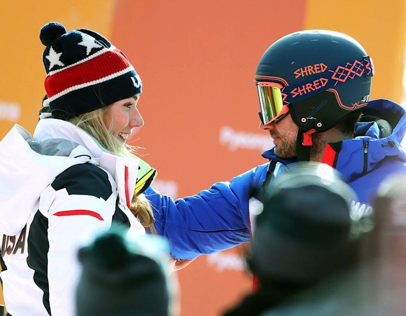 Mikaela Shiffrin (left) and boyfriend Mathieu Faivre