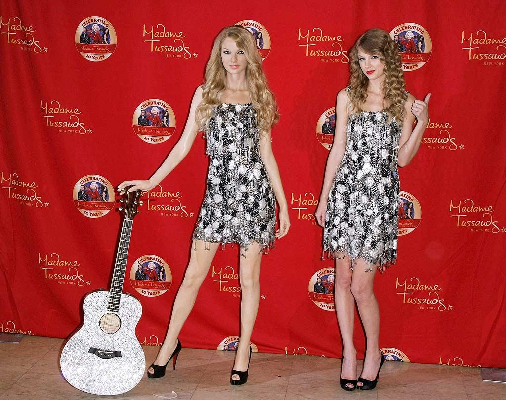"""Taylor Swift was on hand to unveil her wax doppelganger at Madame Tussauds in New York City Wednesday. The country star, who wore a sparkling Jenny Packham mini to match her wax figure, posted a <a href=""""http://yfrog.com/5gvjtgj"""" target=""""new"""">twitpic</a> of herself eye-to-eye with her double, with the quote, """"Bring on all the pretenders..."""" Neilson Barnard/<a href=""""http://www.gettyimages.com/"""" target=""""new"""">GettyImages.com</a> - October 27, 2010"""