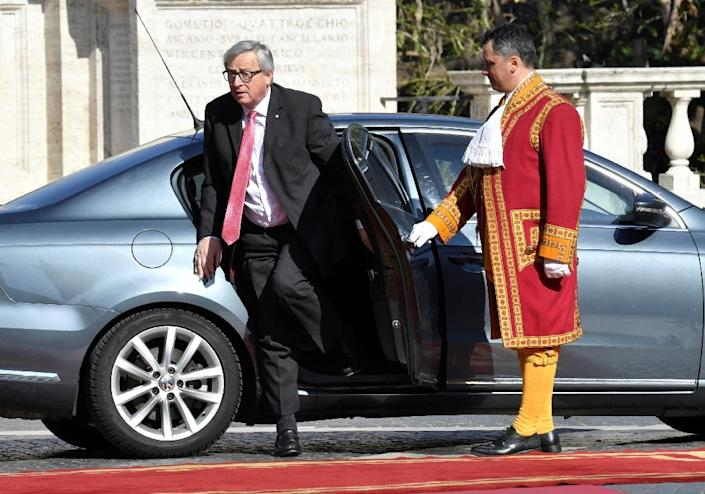 President of the European Commission Jean-Claude Juncker arrives ahead of a special summit of EU leaders to mark the 60th anniversary of the bloc's founding Treaty of Rome, on March 25, 2017 at Rome's Piazza del Campidoglio Against a backdrop of crises and in the absence of the departing Britain, the leaders signed a new Rome declaration, six decades after the six founding members signed the Treaty of Rome and gave birth to the European Economic Community. (AFP Photo/Andreas SOLARO)