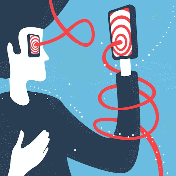 """<span class=""""caption"""">Your devices can trigger symptoms similar to motion sickness.</span> <span class=""""attribution""""><a class=""""link rapid-noclick-resp"""" href=""""https://www.gettyimages.com/detail/illustration/man-and-modern-technology-communication-royalty-free-illustration/1063800132"""" rel=""""nofollow noopener"""" target=""""_blank"""" data-ylk=""""slk:Bakal/Stock via Getty Images Plus"""">Bakal/Stock via Getty Images Plus</a></span>"""