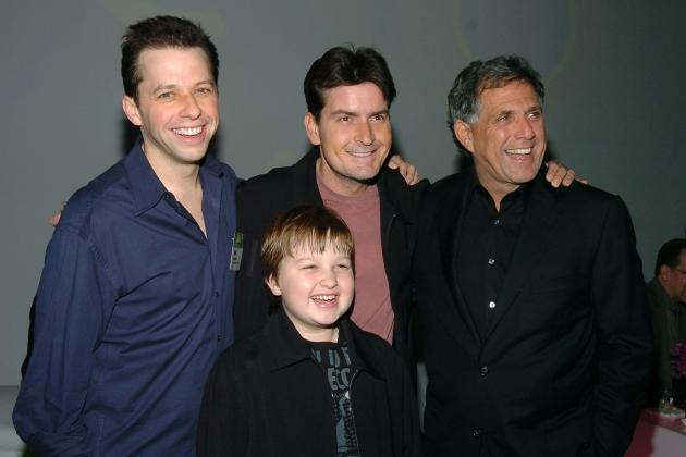 Jon Cryer, Charlie Sheen, Leslie Moonves, co-president and co-COO Viacom and chairman CBS, and Angus T. Jones, Jan. 18, 2005 -- Getty Images
