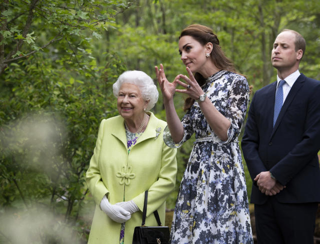 Queen Elizabeth II is shown around 'Back to Nature' by Prince William and Kate in 2019. (Getty Images)