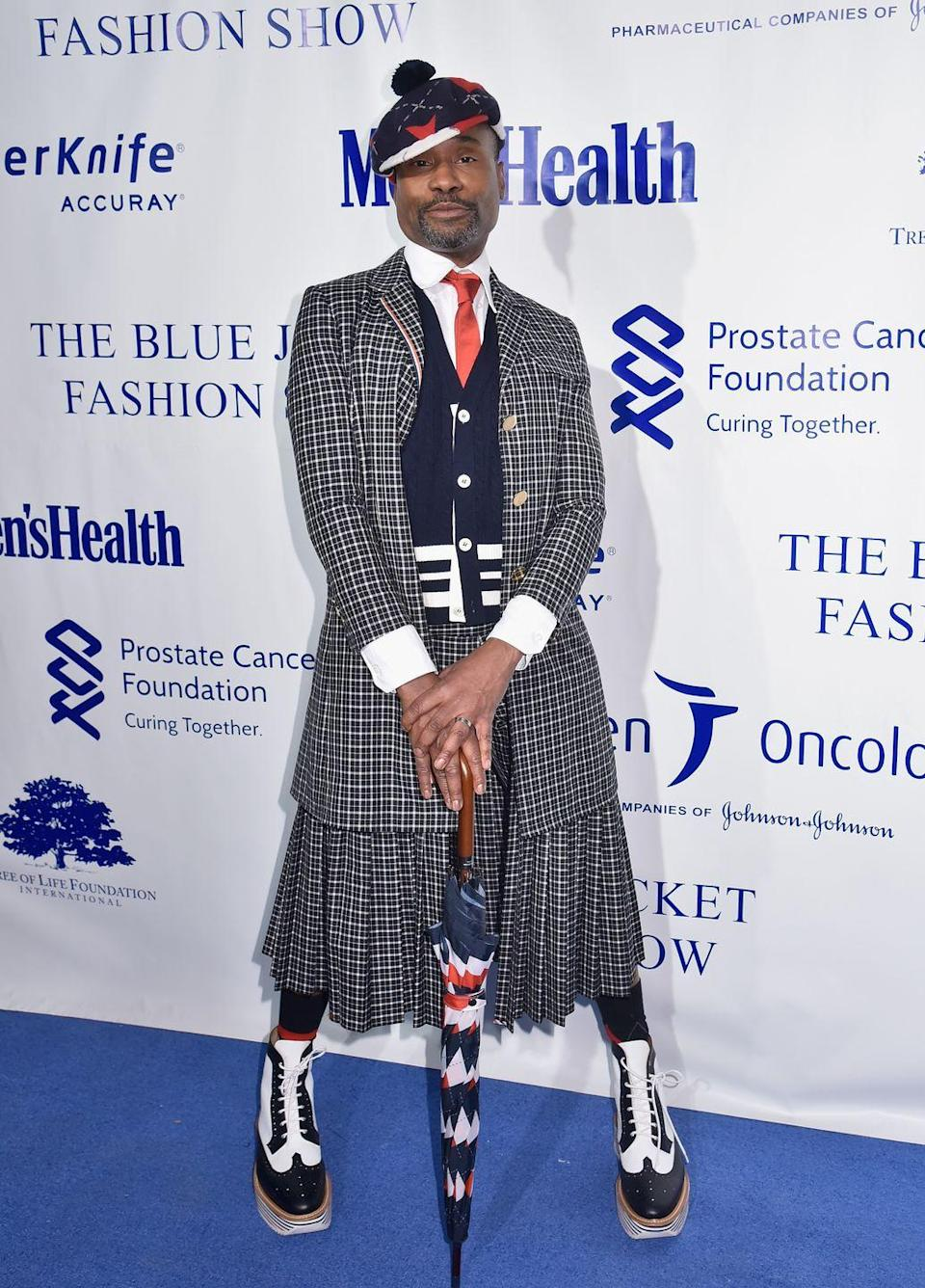 <p>At the benefit raising awareness for prostate cancer, Porter wore a full Thom Browne look, complete with an umbrella.</p>