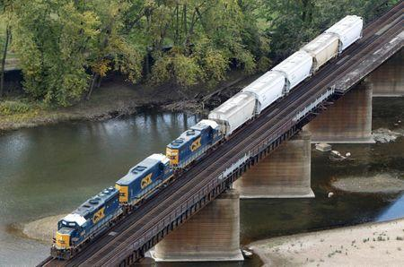FILE PHOTO: A CSX freight train crosses the Potomac River in Harpers Ferry West Virginia