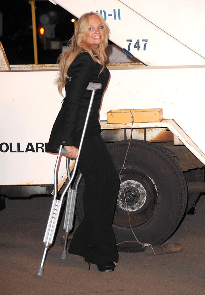 "Luckily, Emma Bunton will have time to recover from a sprained ankle she received thanks to a minor tumble she took on stage in Vegas a few days ago. Steve Granitz/<a href=""http://www.wireimage.com"" target=""new"">WireImage.com</a> - December 12, 2007"
