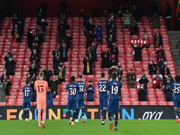 Emirates Stadium welcomed 2,000 fans into the stands for the first time in nine months (Photo/ Arsenal Twitter)