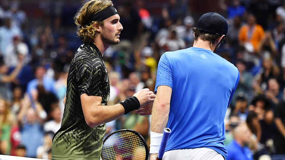 Andy Murray and Stefanos Tsitsipas, pictured here after their heated clash at the US Open.