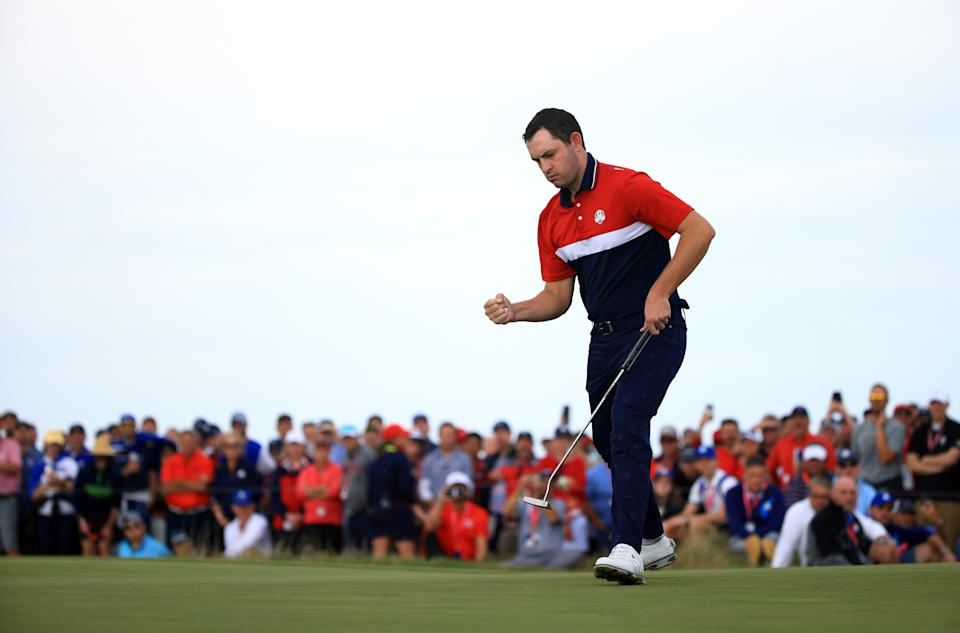 KOHLER, WISCONSIN - SEPTEMBER 26: Patrick Cantlay of team United States reacts on the 15th green during Sunday Singles Matches of the 43rd Ryder Cup at Whistling Straits on September 26, 2021 in Kohler, Wisconsin. (Photo by Mike Ehrmann/Getty Images)