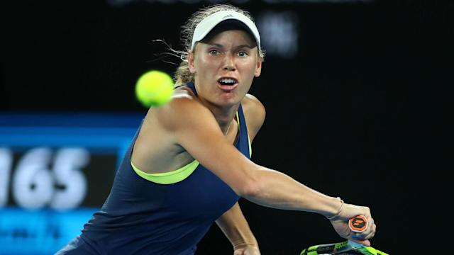 Caroline Wozniacki secured passage to the third round of the Qatar Open, building on her Australian Open title with a comfortable win.