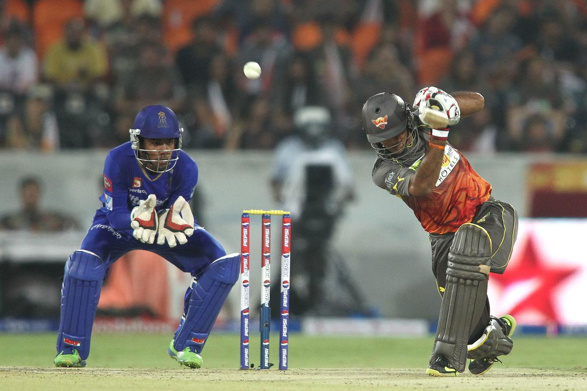 Hanuma Vihari of Sunrisers Hyderabad hits over the top during match 68 of the Pepsi Indian Premier League between The Sunrisers Hyderabad and The Rajasthan Royals held at the Rajiv Gandhi International Stadium, Hyderabad  on the 17th May 2013..Photo by Shaun Roy-IPL-SPORTZPICS ..Use of this image is subject to the terms and conditions as outlined by the BCCI. These terms can be found by following this link:..https://ec.yimg.com/ec?url=http%3a%2f%2fwww.sportzpics.co.za%2fimage%2fI0000SoRagM2cIEc&t=1506204140&sig=Zf8OQmeAxRI8Ux1aIVMCPg--~D