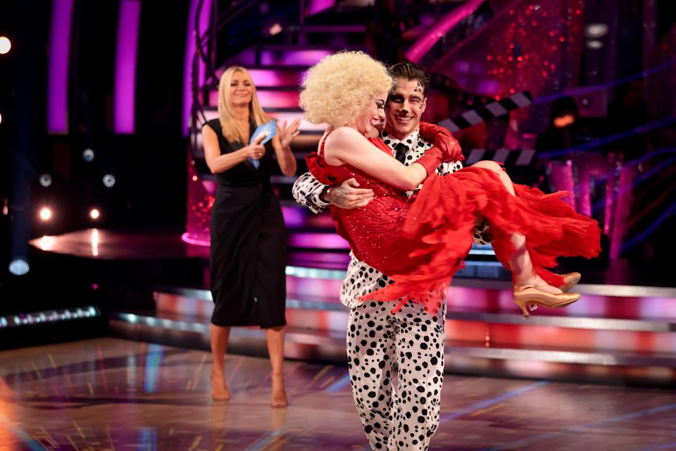 WARNING: Embargoed for publication until 20:00:01 on 09/10/2021 - Programme Name: Strictly Come Dancing 2021 - TX: 10/10/2021 - Episode: Strictly Come Dancing - TX3 RESULTS SHOW (No. n/a) - Picture Shows: **STRICTLY EMBARGOED UNTIL 20:00:01 10/10/2021** Tess Daly, Katie McGlynn, Gorka Marquez - (C) BBC - Photographer: Guy Levy