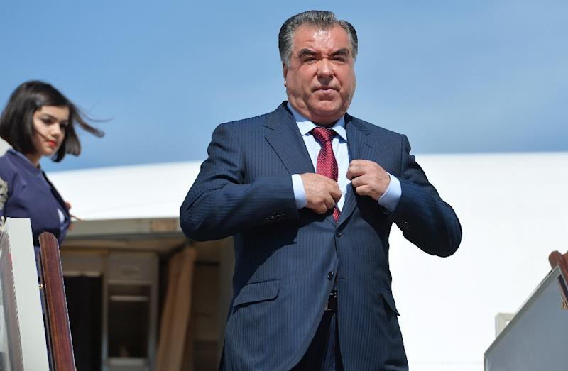 Tajikistan's President Emomali Rakhmon, pictured here at Moscow's Vnukovo II airport on May 8, 2015, has been leading his party without real opposition since a disputed vote last March