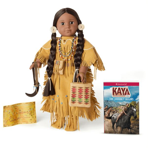<p>Her full name is Kaya'aton'my, which means She Who Arranges Rocks, and she's part of the Nez Pearce tribe in the Pacific Northwest. Living in 1764, this brave young woman wants to be a leader. She's the only Native American doll created by American Girl, and she's got a horse and a dog that looks like a wolf. <br></p>