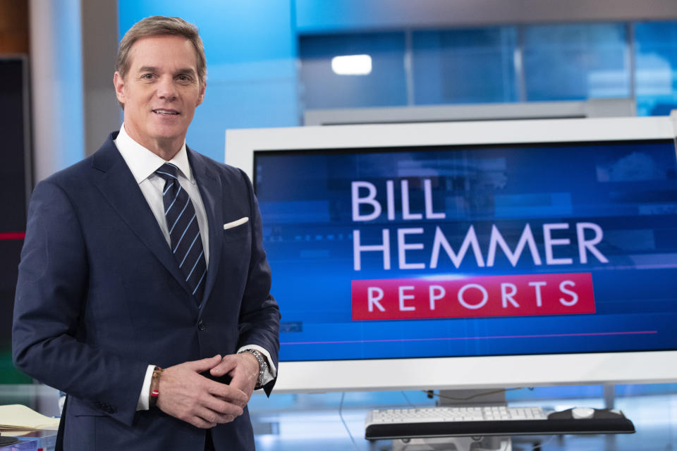 FOX News Channel's Bill Hemmer, anchor of news program Bill Hemmer Reports, poses for a photo on the set of his new show, Friday, Jan. 17, 2020, in New York. Hemmer takes over the 3 p.m. ET news hour that Shepard Smith vacated when he abruptly quit the network late last year. (AP Photo/Mary Altaffer)