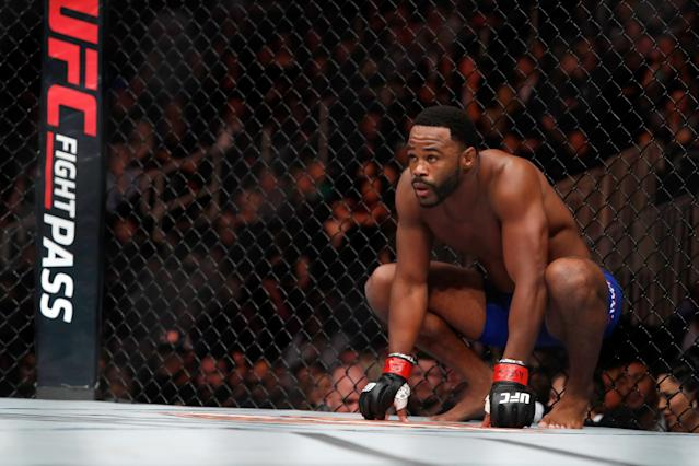 Rashad Evans looks on before the start of his March bout against Daniel Kelly at UFC 209. (Getty)