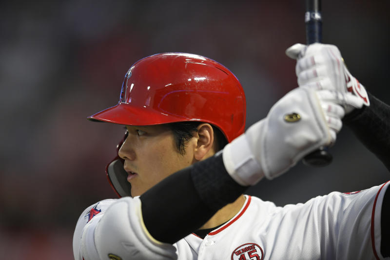 ANAHEIM, CA - AUGUST 30: Shohei Ohtani #17 of the Los Angeles Angels gets ready to bat against the Boston Red Sox in the first inning at Angel Stadium of Anaheim on August 30, 2019 in Anaheim, California. (Photo by John McCoy/Getty Images)