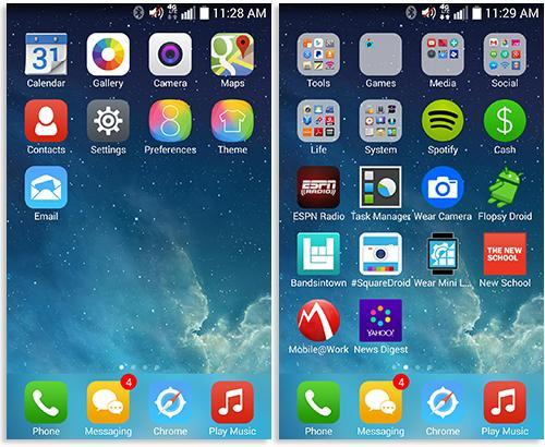 Phones displaying iOS 8