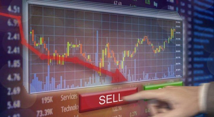 Stock market plummet sell shares on exchange with financial loss and money gone, representing stocks to sell