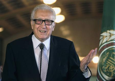 U.N.-Arab League envoy for Syria Brahimi speaks during a joint news conference with Arab League Secretary-General Elaraby at the headquarters of the Arab League in Cairo