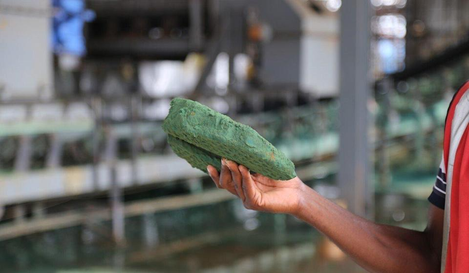 Raw cobalt after its first transformation at a plant in the Democratic Republic of Congo before it is exported to China for refining. Photo: AFP