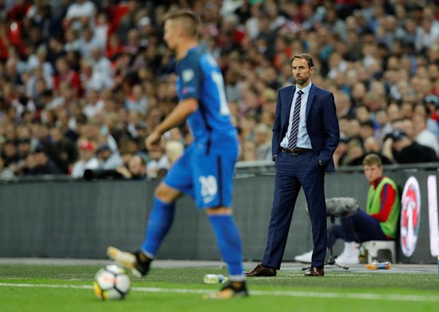 <p>Soccer Football – 2018 World Cup Qualifications – Europe – England vs Slovakia – London, Britain – September 4, 2017 England manager Gareth Southgate looks on while Slovakia's Robert Mak is in action REUTERS/Darren Staples </p>