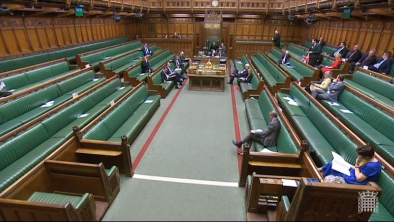 The scene in the House of Commons shortly after the announcement by the Independent Parliamentary Standards Authority that MPs' basic pay is to increase by 2.7% to �79,468 from April 1. At the time of this picture, MPs were participating in Backbench Business with a general debate on St David's Day.