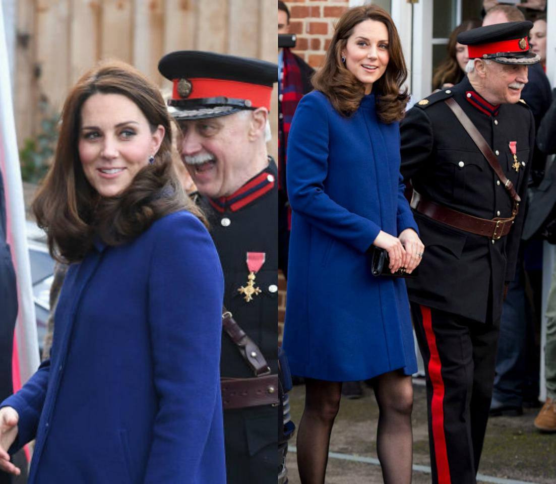"""<p><strong>When: Feb. 7, 2018</strong><br />Kate Middleton stepped out to an event in Essex on Wednesday — and she did it in style. The pregnant Duchess, who is expecting her third baby (<a rel=""""nofollow"""" href=""""https://ca.style.yahoo.com/things-know-next-royal-baby-211505875.html"""">or perhaps even twins as rumour has it</a>) in April, rocked a above-the-knee blue coat paired with a black dress and matching black pumps. </p>"""