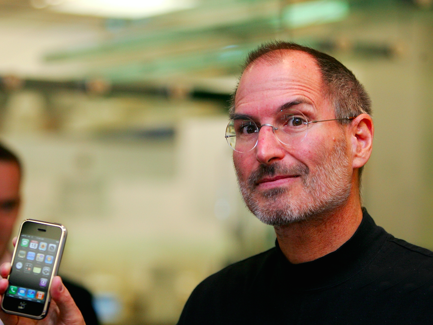 Steve Jobs Holds Up The Original IPhone In 2007 Picture Rex