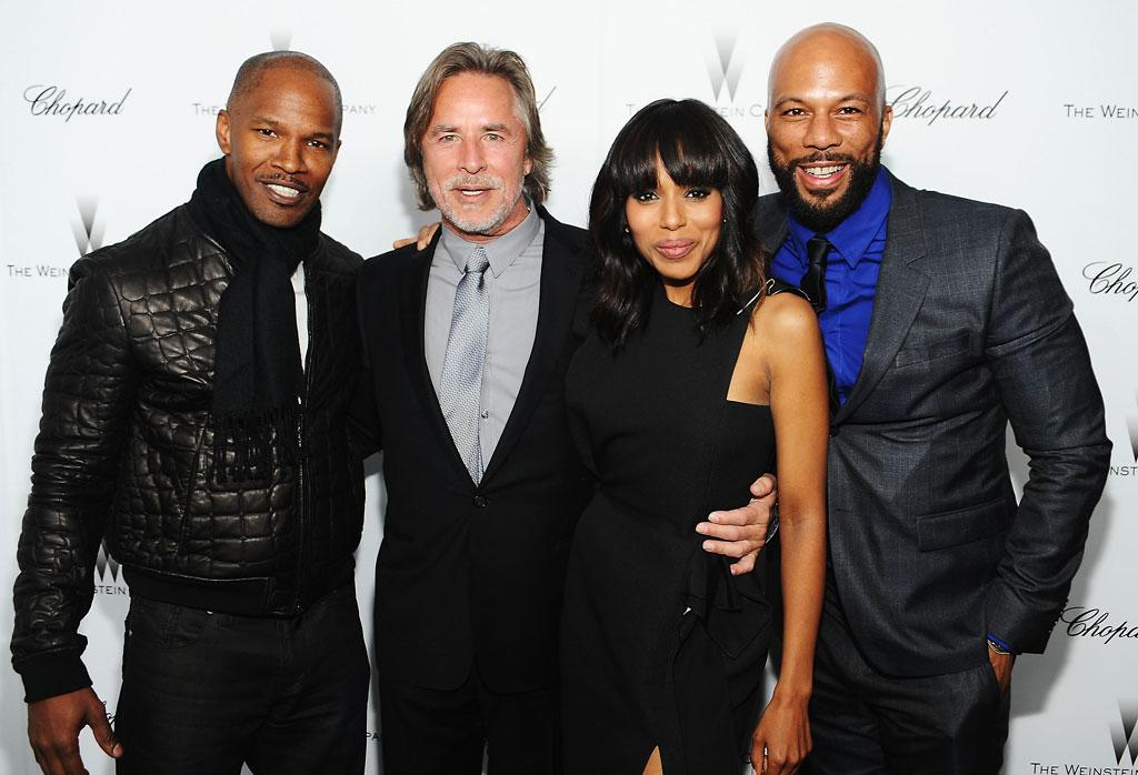 Jamie Foxx, Don Johnson, Kerry Washington and Common attend The Weinstein Company Academy Award Party hosted by Chopard at Soho House on February 23, 2013 in West Hollywood, California.