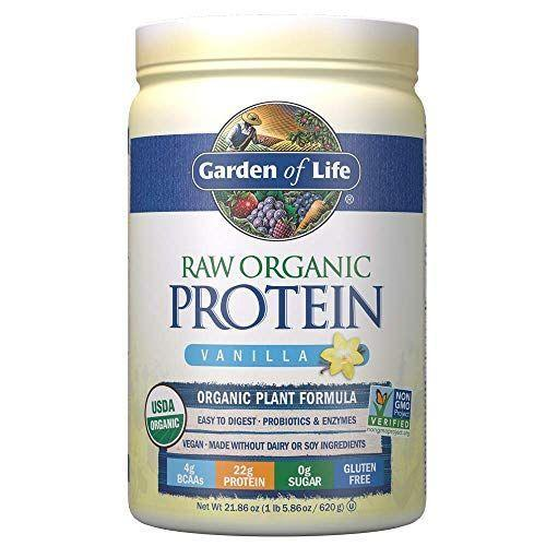 """<p><strong>Garden of Life</strong></p><p>amazon.com</p><p><strong>$33.59</strong></p><p><a href=""""https://www.amazon.com/dp/B007SYT7LO?tag=syn-yahoo-20&ascsubtag=%5Bartid%7C10055.g.35084321%5Bsrc%7Cyahoo-us"""" rel=""""nofollow noopener"""" target=""""_blank"""" data-ylk=""""slk:Shop Now"""" class=""""link rapid-noclick-resp"""">Shop Now</a></p><p>This certified vegan and organic option is soy-free, and made from a protein blend of pea and ancient grains. <strong>One scoop packs in 22 grams of plant-based protein for only 110 calories, 2 grams of carbs, and no added sugar</strong> making it a top pick for those following a low-carb diet. With an added probiotics and enzymes blend, it also can promote digestive regularity. It has a nutty, earthy flavor and a slightly gritty texture so it's best blended into smoothies.</p>"""