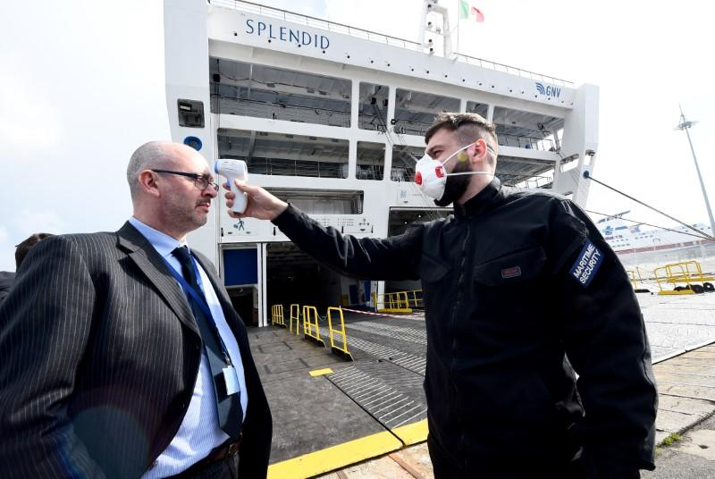 'Splendid' ship is docked to be used as a hospital, in Genoa