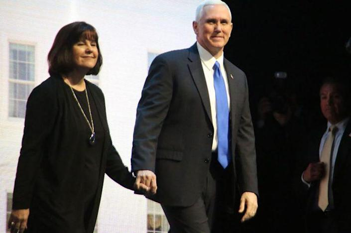 Karen and Mike Pence are proud of their strong marriage (REX/Shutterstock)