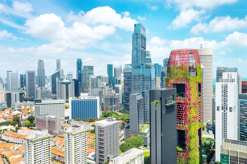 Aerial cityscape of Singapore metropolis, business district with modern architecture, skyscraper building with gardens