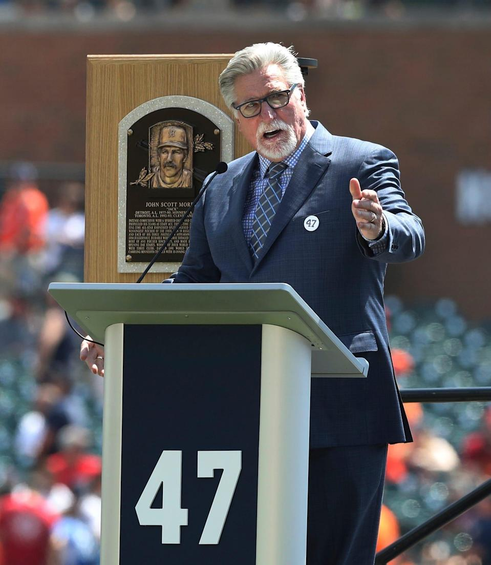Former Tigers pitcher and Hall of Fame inductee Jack Morris addresses the crowd before a ceremony where his number was retired before the start of the Tigers and the Minnesota Twins baseball game on Sunday, Aug. 12, 2018, at Comerica Park.